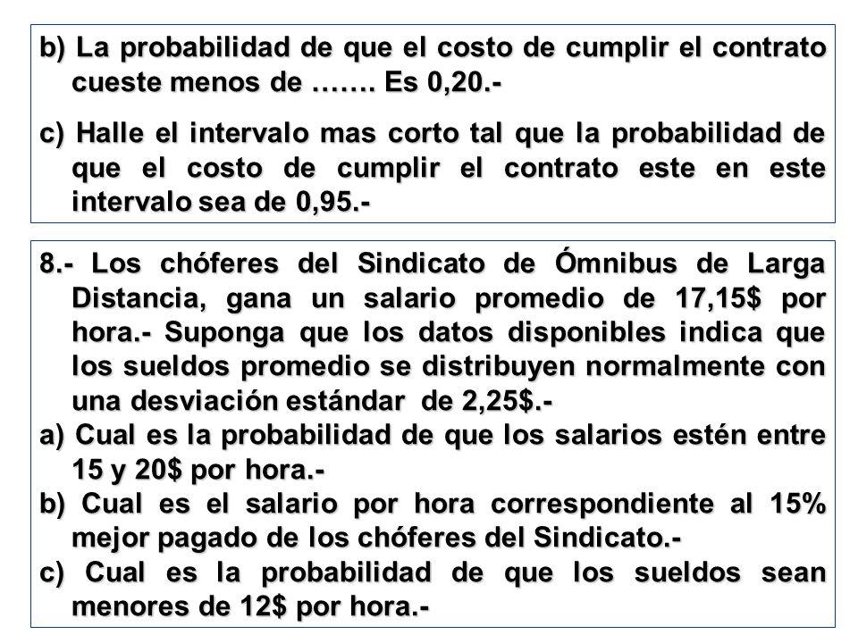 b) La probabilidad de que el costo de cumplir el contrato cueste menos de ……. Es 0,20.- c) Halle el intervalo mas corto tal que la probabilidad de que