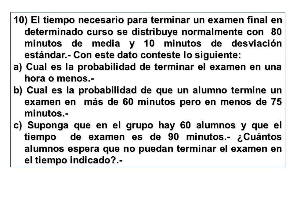 10) El tiempo necesario para terminar un examen final en determinado curso se distribuye normalmente con 80 minutos de media y 10 minutos de desviació