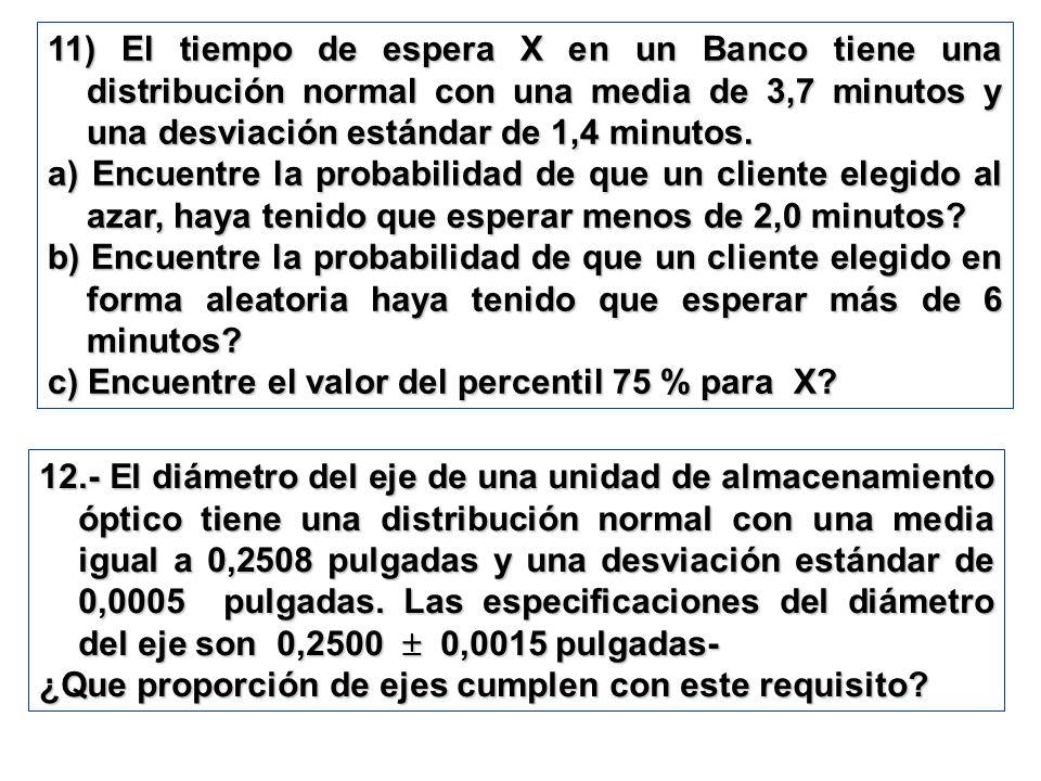 11) El tiempo de espera X en un Banco tiene una distribución normal con una media de 3,7 minutos y una desviación estándar de 1,4 minutos. a) Encuentr