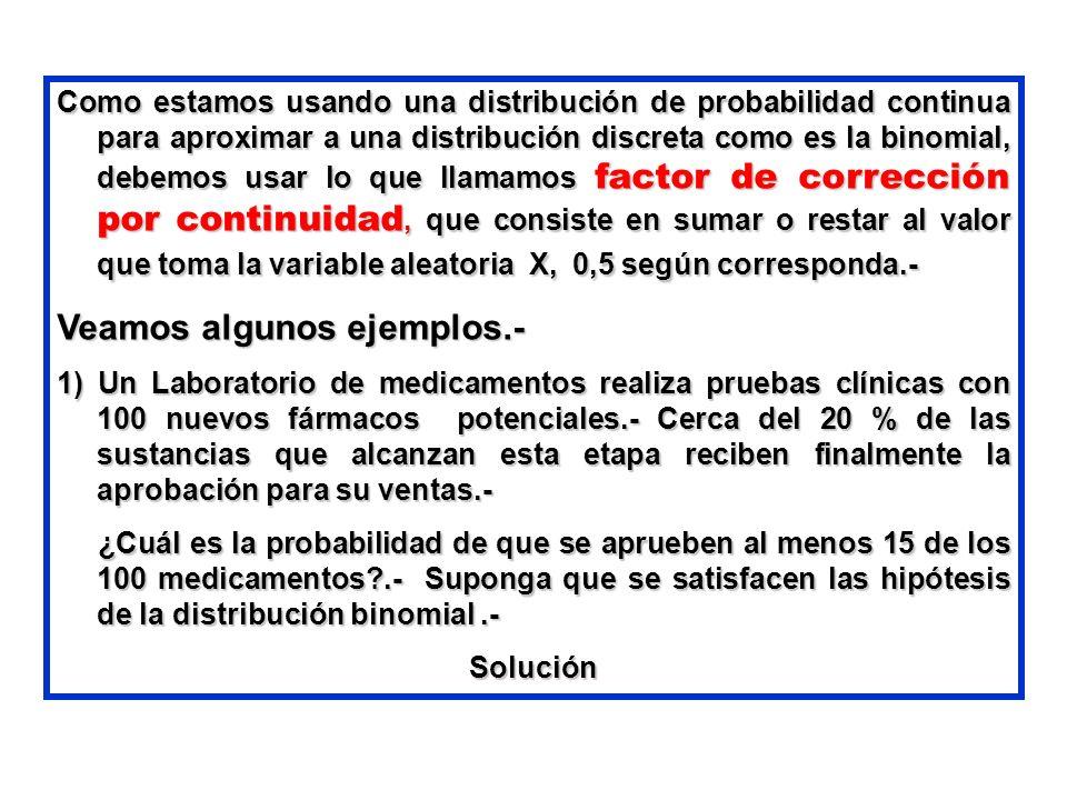 Como estamos usando una distribución de probabilidad continua para aproximar a una distribución discreta como es la binomial, debemos usar lo que llam