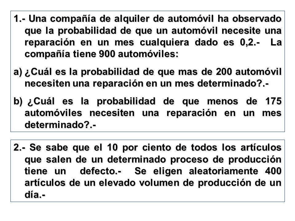1.- Una compañía de alquiler de automóvil ha observado que la probabilidad de que un automóvil necesite una reparación en un mes cualquiera dado es 0,