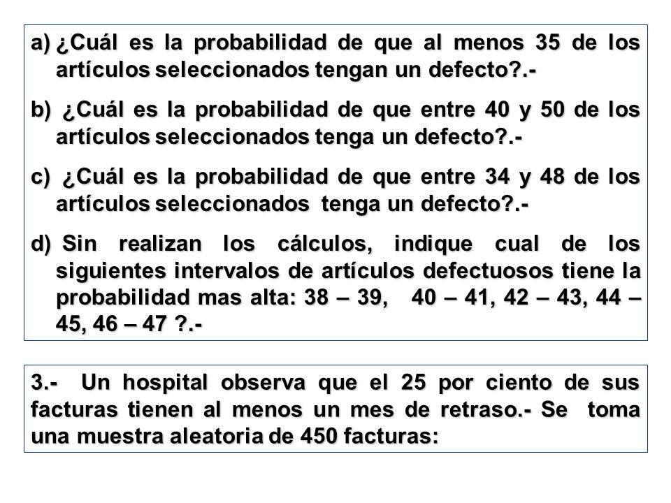 a)¿Cuál es la probabilidad de que al menos 35 de los artículos seleccionados tengan un defecto?.- b) ¿Cuál es la probabilidad de que entre 40 y 50 de