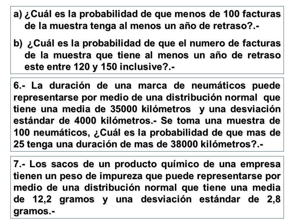 a)¿Cuál es la probabilidad de que menos de 100 facturas de la muestra tenga al menos un año de retraso?.- b) ¿Cuál es la probabilidad de que el numero
