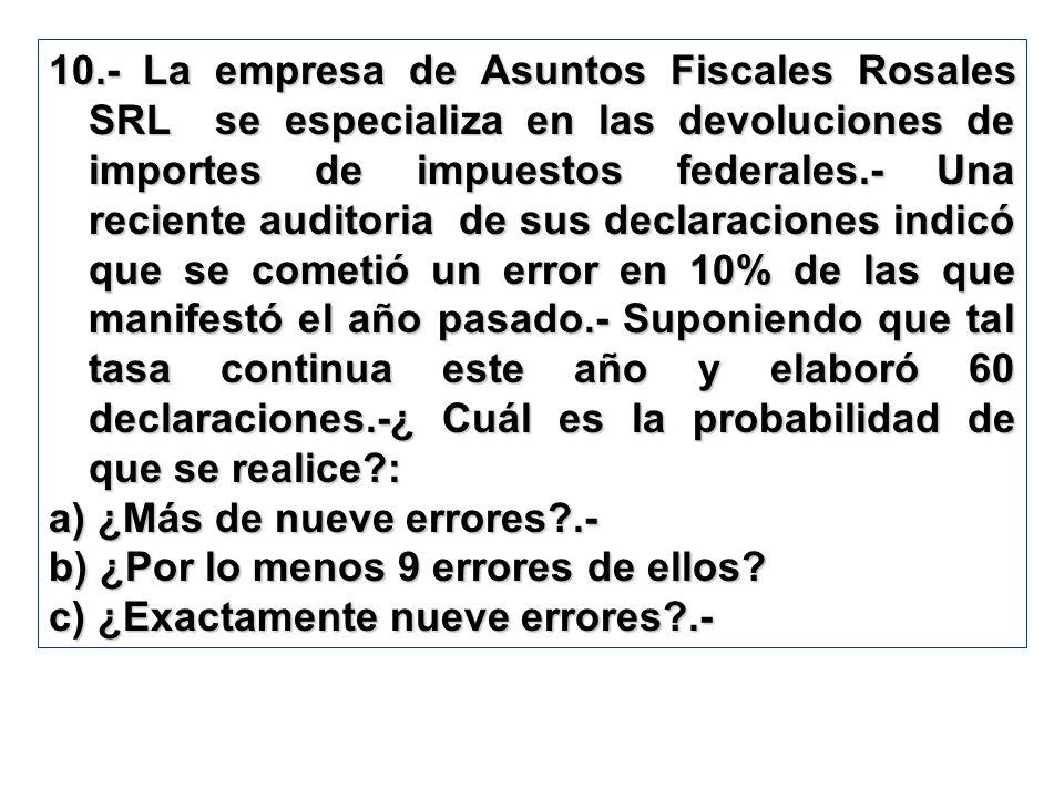 10.- La empresa de Asuntos Fiscales Rosales SRL se especializa en las devoluciones de importes de impuestos federales.- Una reciente auditoria de sus