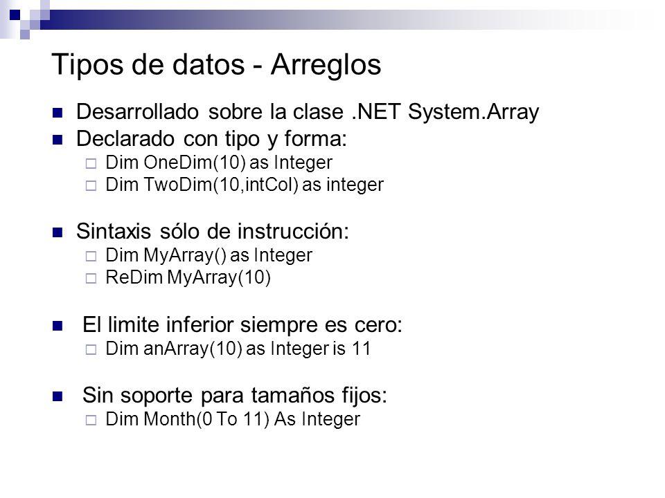 Tipos de datos - Arreglos Desarrollado sobre la clase.NET System.Array Declarado con tipo y forma: Dim OneDim(10) as Integer Dim TwoDim(10,intCol) as