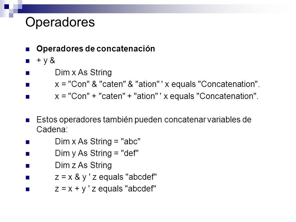 Operadores Operadores de concatenación + y & Dim x As String x =