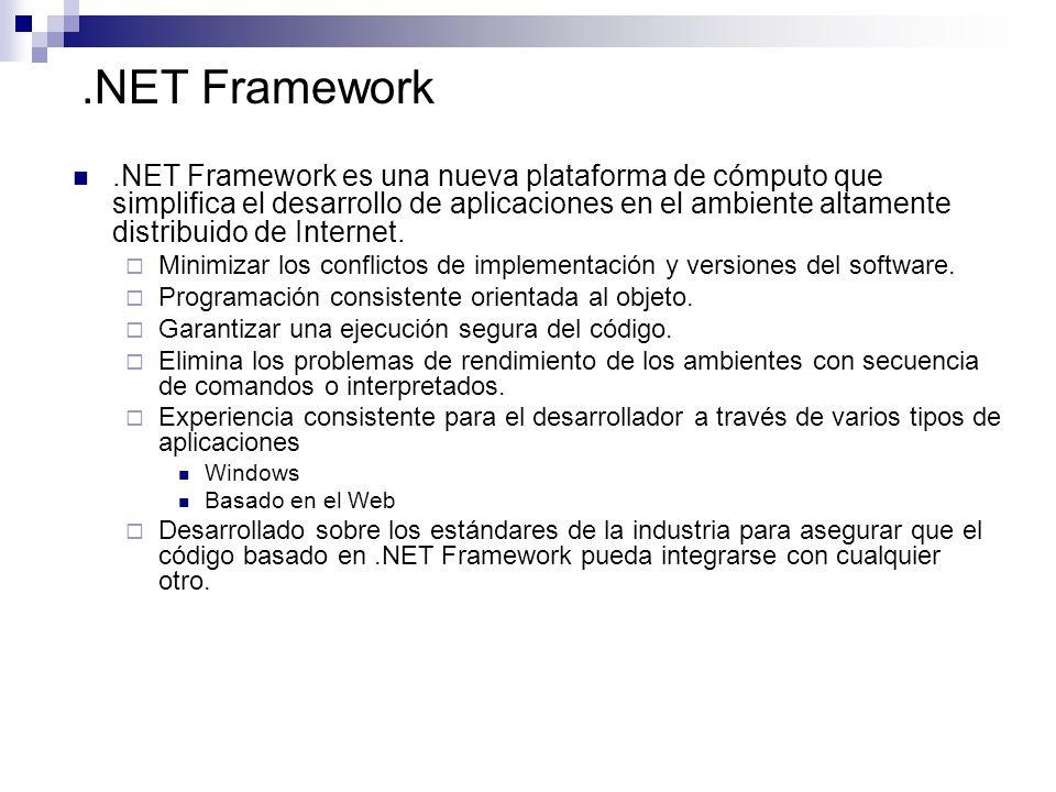 .NET Framework.NET Framework tiene dos componentes principales: Motor de ejecución común de los lenguajes(CLR) Biblioteca de clases de.NET Framework..NET Framework puede ser hospedado por componentes administrados y no administrados ASP.NET Internet Explorer