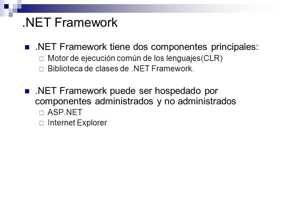 .NET Framework.NET Framework tiene dos componentes principales: Motor de ejecución común de los lenguajes(CLR) Biblioteca de clases de.NET Framework..
