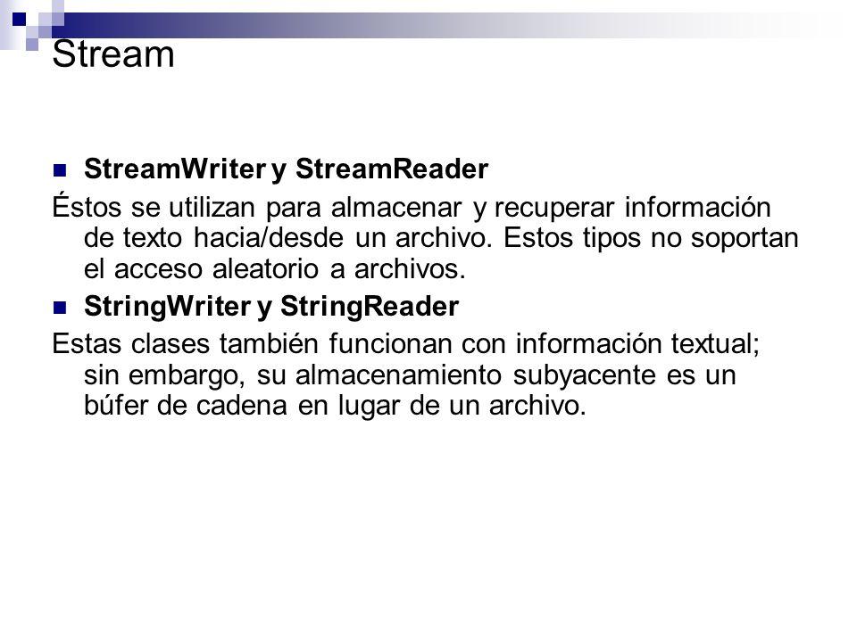 Stream StreamWriter y StreamReader Éstos se utilizan para almacenar y recuperar información de texto hacia/desde un archivo. Estos tipos no soportan e