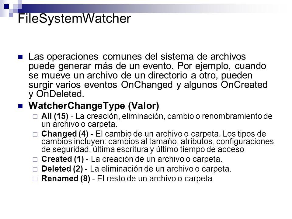 FileSystemWatcher Las operaciones comunes del sistema de archivos puede generar más de un evento. Por ejemplo, cuando se mueve un archivo de un direct