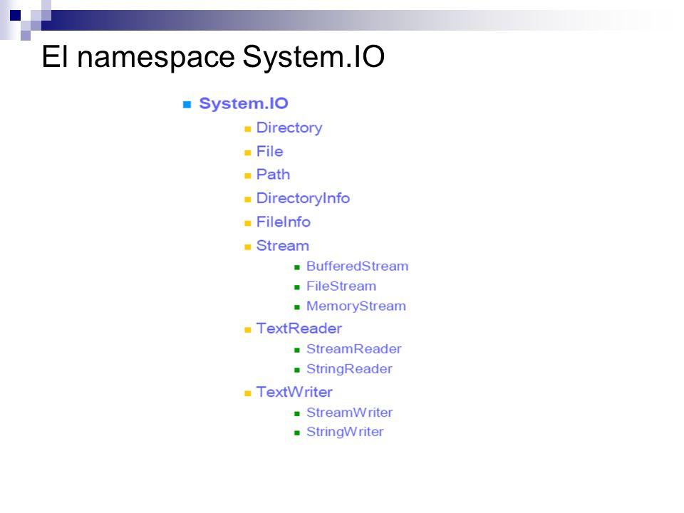 System.IO Directory, DirectoryInfo, File, FileInfo Se utilizan para manipular las propiedades para un directorio o archivo físico dado, así como para crear archivos nuevos y extender la estructura actuales del directorio.