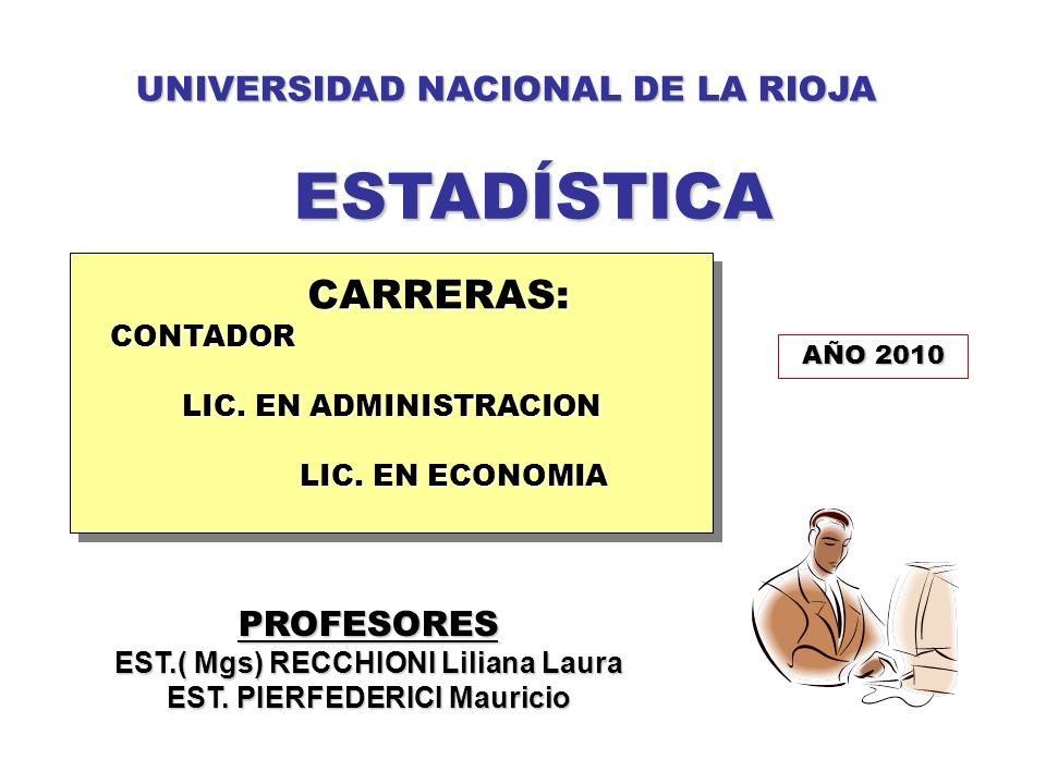 PROFESORES EST.( Mgs) RECCHIONI Liliana Laura EST. PIERFEDERICI Mauricio UNIVERSIDAD NACIONAL DE LA RIOJA ESTADÍSTICA ESTADÍSTICA CARRERAS: CARRERAS:C
