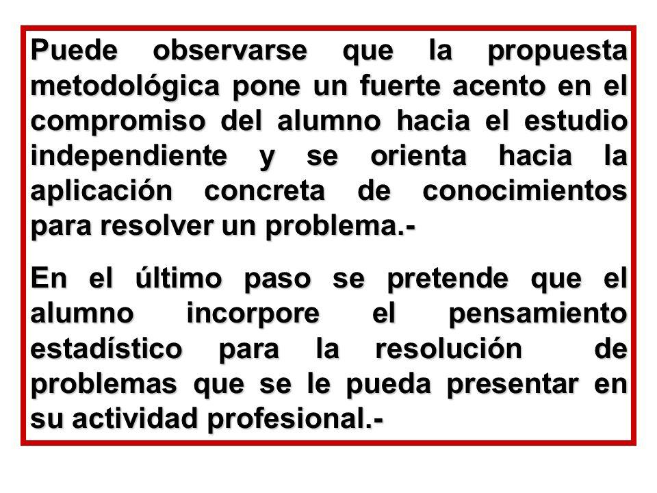 Puede observarse que la propuesta metodológica pone un fuerte acento en el compromiso del alumno hacia el estudio independiente y se orienta hacia la