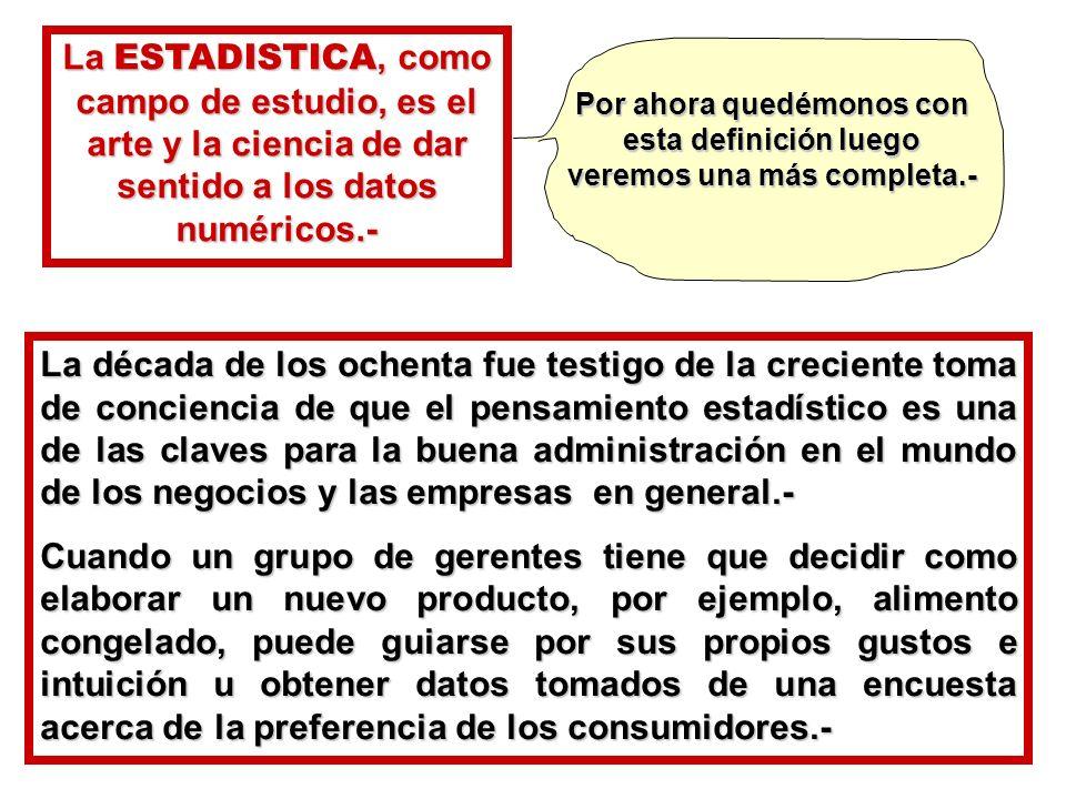 La década de los ochenta fue testigo de la creciente toma de conciencia de que el pensamiento estadístico es una de las claves para la buena administr