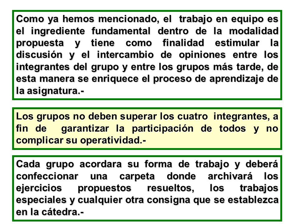 Como ya hemos mencionado, el trabajo en equipo es el ingrediente fundamental dentro de la modalidad propuesta y tiene como finalidad estimular la disc