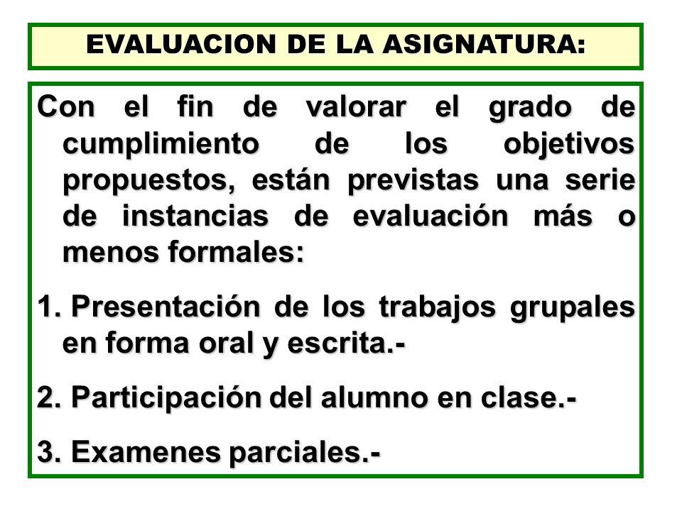 EVALUACION DE LA ASIGNATURA: Con el fin de valorar el grado de cumplimiento de los objetivos propuestos, están previstas una serie de instancias de ev