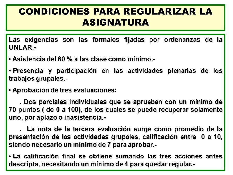 CONDICIONES PARA REGULARIZAR LA ASIGNATURA Las exigencias son las formales fijadas por ordenanzas de la UNLAR.- Asistencia del 80 % a las clase como m
