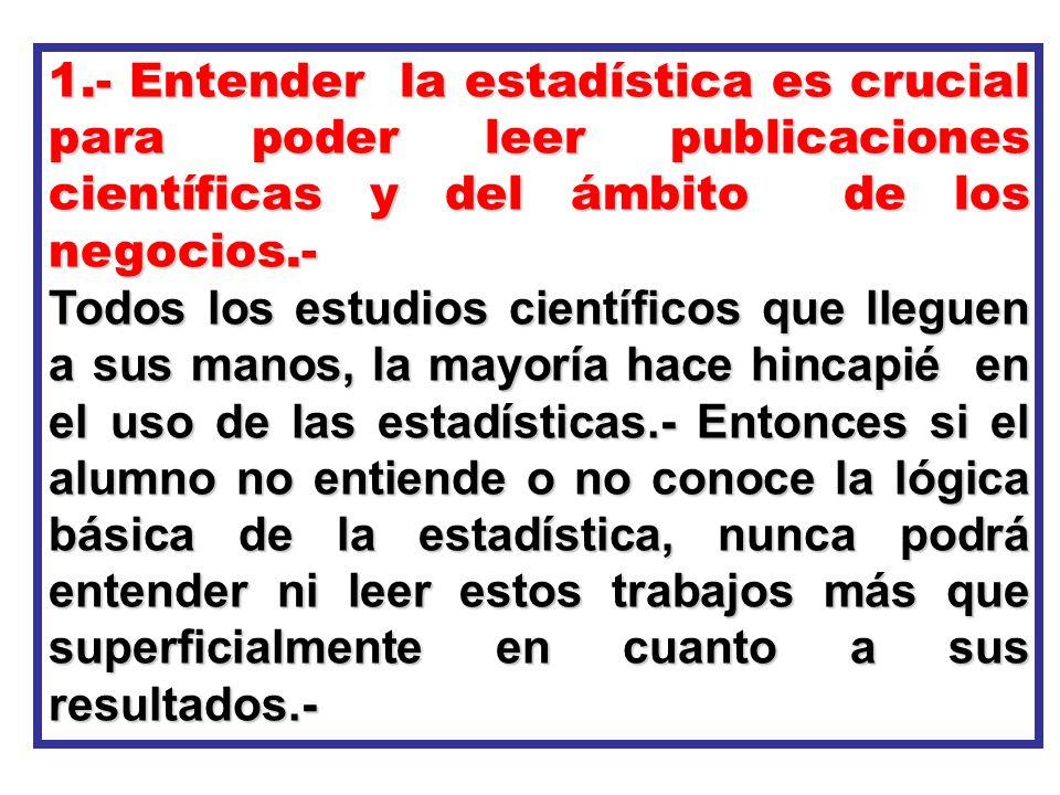 1.- Entender la estadística es crucial para poder leer publicaciones científicas y del ámbito de los negocios.- Todos los estudios científicos que lle