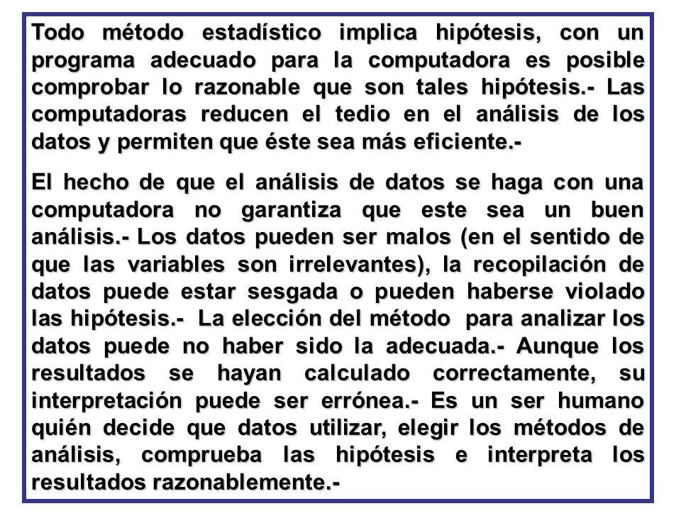 Todo método estadístico implica hipótesis, con un programa adecuado para la computadora es posible comprobar lo razonable que son tales hipótesis.- La
