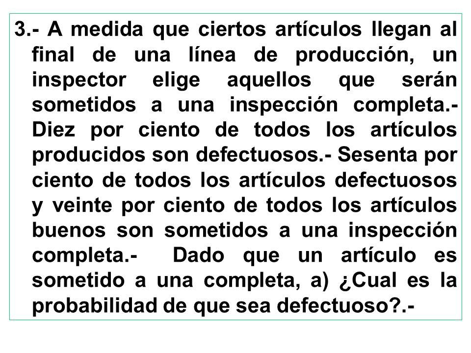 3.- A medida que ciertos artículos llegan al final de una línea de producción, un inspector elige aquellos que serán sometidos a una inspección comple