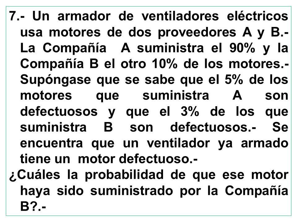 7.- Un armador de ventiladores eléctricos usa motores de dos proveedores A y B.- La Compañía A suministra el 90% y la Compañía B el otro 10% de los mo