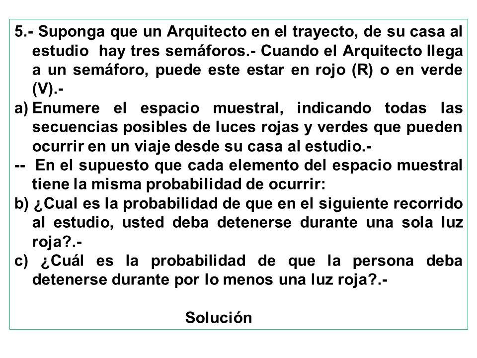 5.- Suponga que un Arquitecto en el trayecto, de su casa al estudio hay tres semáforos.- Cuando el Arquitecto llega a un semáforo, puede este estar en