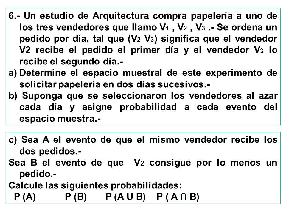 6.- Un estudio de Arquitectura compra papelería a uno de los tres vendedores que llamo V 1, V 2, V 3.- Se ordena un pedido por día, tal que (V 2 V 3 )