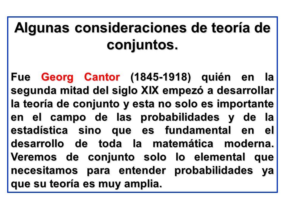 Algunas consideraciones de teoría de conjuntos. Fue Georg Cantor (1845-1918) quién en la segunda mitad del siglo XIX empezó a desarrollar la teoría de
