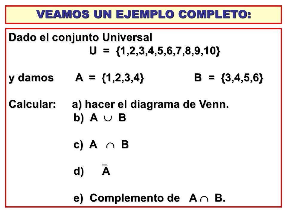 Dado el conjunto Universal U = {1,2,3,4,5,6,7,8,9,10} U = {1,2,3,4,5,6,7,8,9,10} y damos A = {1,2,3,4} B = {3,4,5,6} Calcular: a) hacer el diagrama de