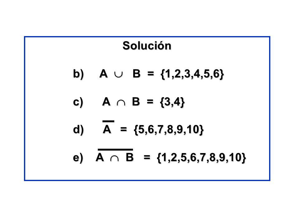 Solución b) A B = {1,2,3,4,5,6} b) A B = {1,2,3,4,5,6} c) A B = {3,4} c) A B = {3,4} d) A = {5,6,7,8,9,10} d) A = {5,6,7,8,9,10} e) A B = {1,2,5,6,7,8