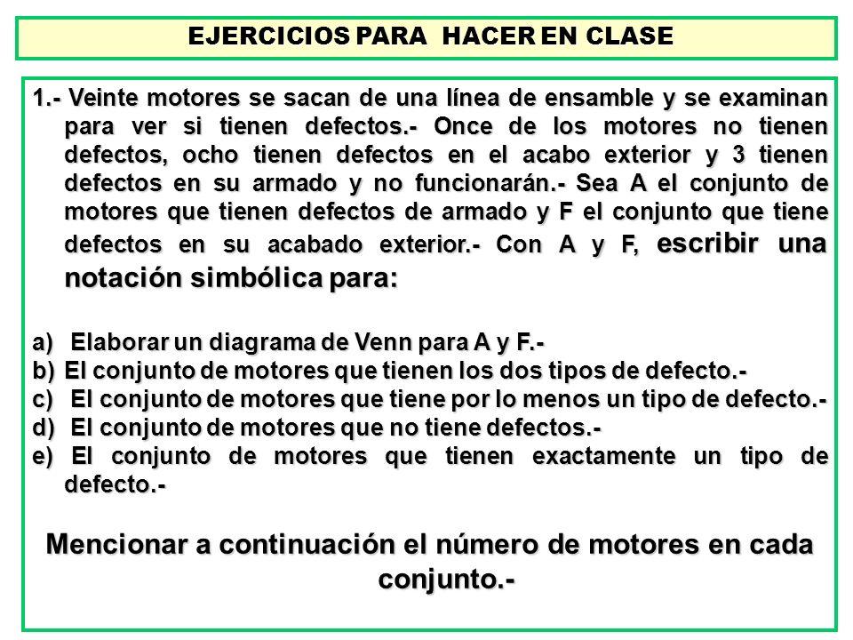 EJERCICIOS PARA HACER EN CLASE EJERCICIOS PARA HACER EN CLASE 1.- Veinte motores se sacan de una línea de ensamble y se examinan para ver si tienen de