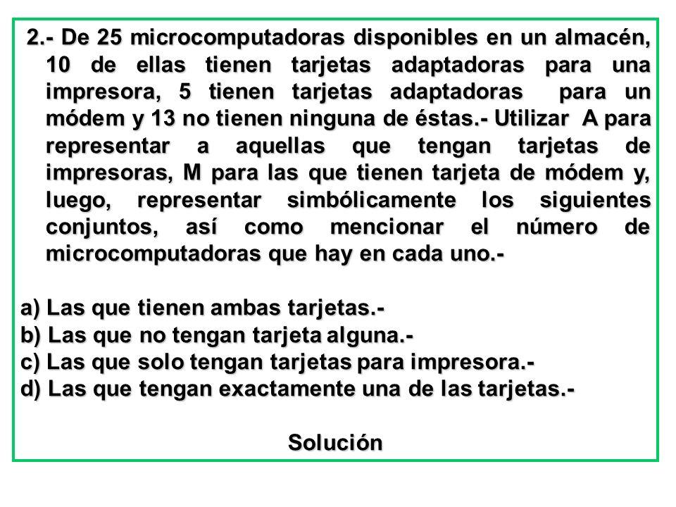 2.- De 25 microcomputadoras disponibles en un almacén, 10 de ellas tienen tarjetas adaptadoras para una impresora, 5 tienen tarjetas adaptadoras para