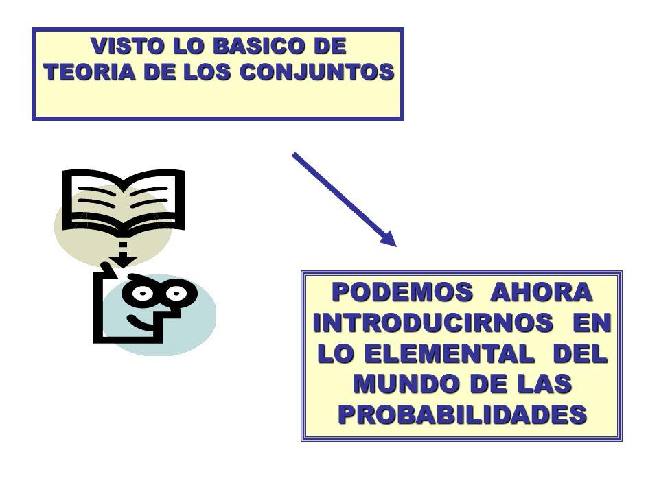VISTO LO BASICO DE TEORIA DE LOS CONJUNTOS PODEMOS AHORA INTRODUCIRNOS EN LO ELEMENTAL DEL MUNDO DE LAS PROBABILIDADES
