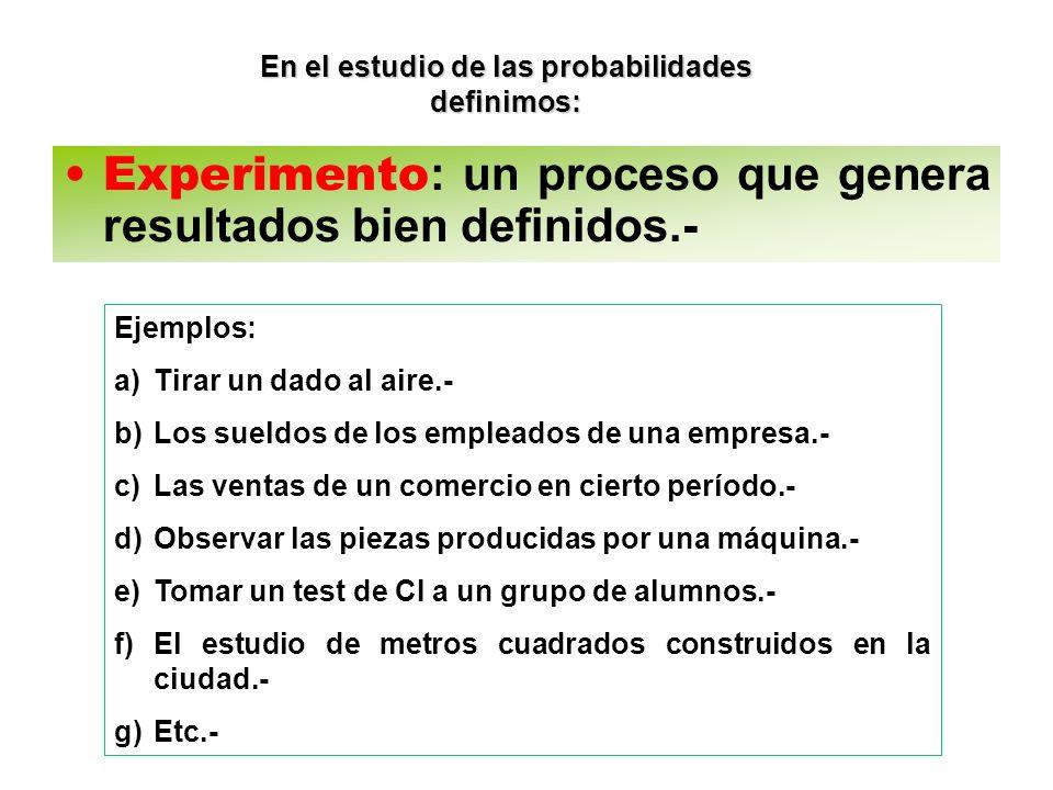 En el estudio de las probabilidades definimos: Experimento : un proceso que genera resultados bien definidos.- Ejemplos: a)Tirar un dado al aire.- b)L
