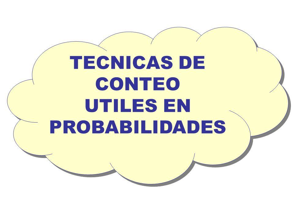 TECNICAS DE CONTEO UTILES EN PROBABILIDADES TECNICAS DE CONTEO UTILES EN PROBABILIDADES