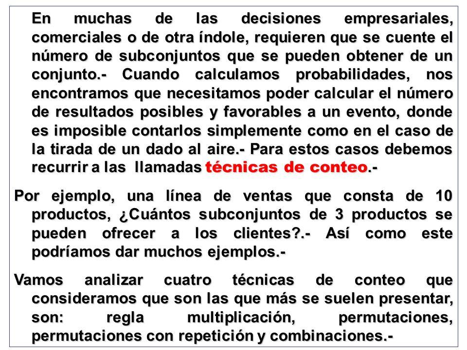 En muchas de las decisiones empresariales, comerciales o de otra índole, requieren que se cuente el número de subconjuntos que se pueden obtener de un