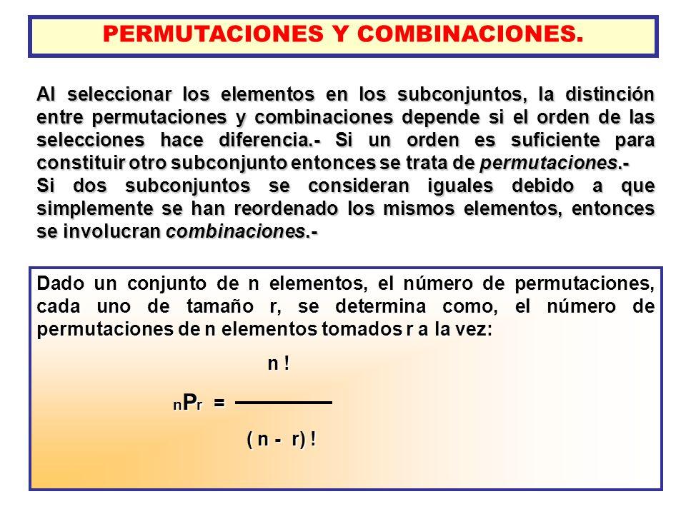 PERMUTACIONES Y COMBINACIONES. Al seleccionar los elementos en los subconjuntos, la distinción entre permutaciones y combinaciones depende si el orden