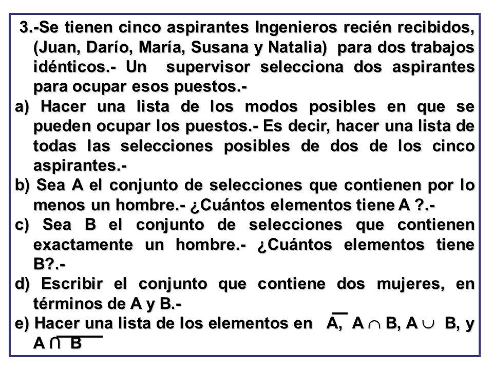 3.-Se tienen cinco aspirantes Ingenieros recién recibidos, (Juan, Darío, María, Susana y Natalia) para dos trabajos idénticos.- Un supervisor seleccio