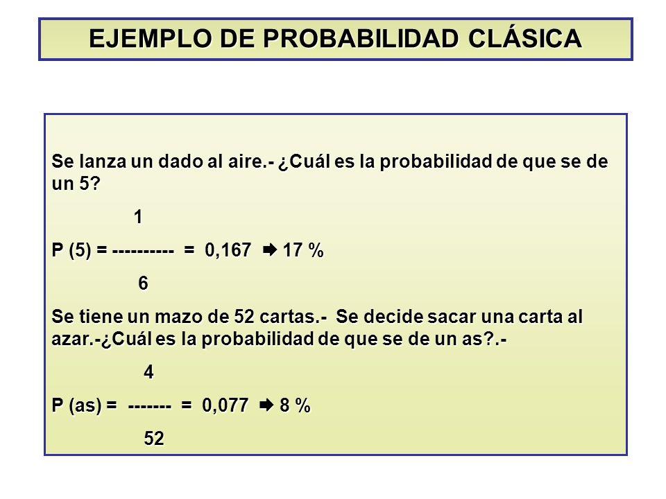 EJEMPLO DE PROBABILIDAD CLÁSICA Se lanza un dado al aire.- ¿Cuál es la probabilidad de que se de un 5? 1 P (5) = ---------- = 0,167 17 % 6 Se tiene un