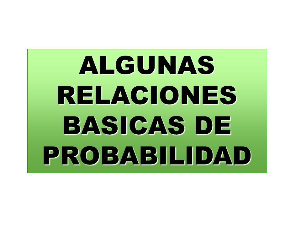 ALGUNAS RELACIONES BASICAS DE PROBABILIDAD