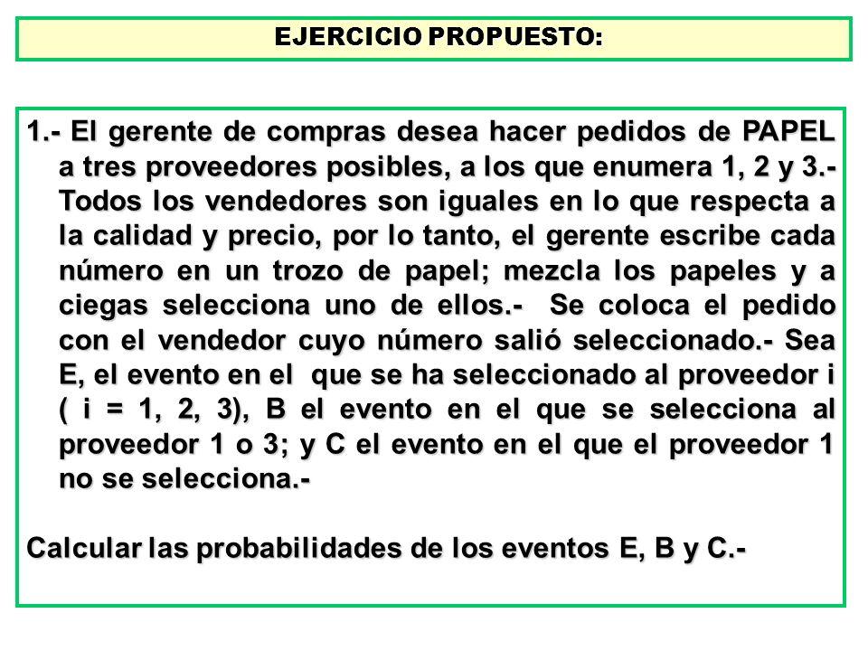 EJERCICIO PROPUESTO: EJERCICIO PROPUESTO: 1.- El gerente de compras desea hacer pedidos de PAPEL a tres proveedores posibles, a los que enumera 1, 2 y