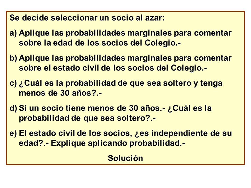 Se decide seleccionar un socio al azar: a)Aplique las probabilidades marginales para comentar sobre la edad de los socios del Colegio.- b)Aplique las