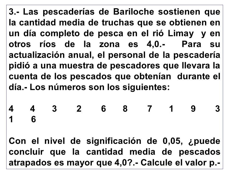 3.- Las pescaderías de Bariloche sostienen que la cantidad media de truchas que se obtienen en un día completo de pesca en el rió Limay y en otros río