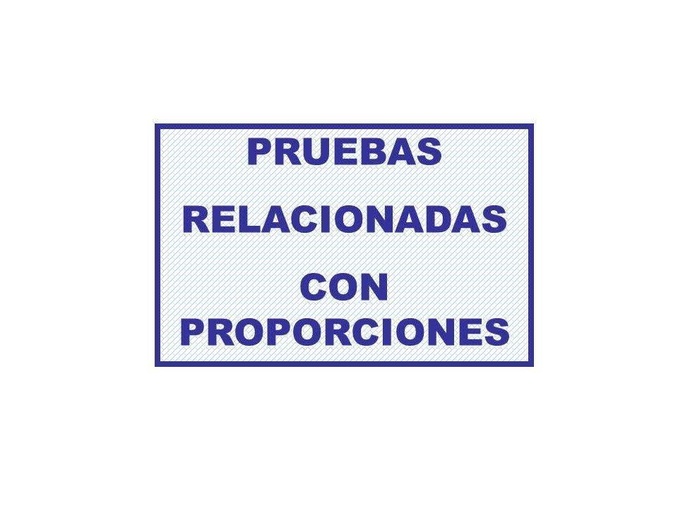 PRUEBAS RELACIONADAS CON PROPORCIONES
