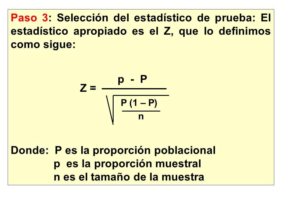 Paso 3: Selección del estadístico de prueba: El estadístico apropiado es el Z, que lo definimos como sigue: Donde: P es la proporción poblacional p es