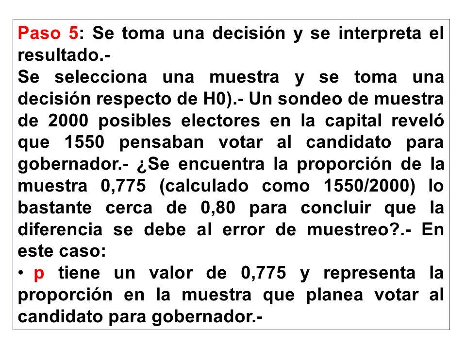 Paso 5: Se toma una decisión y se interpreta el resultado.- Se selecciona una muestra y se toma una decisión respecto de H0).- Un sondeo de muestra de