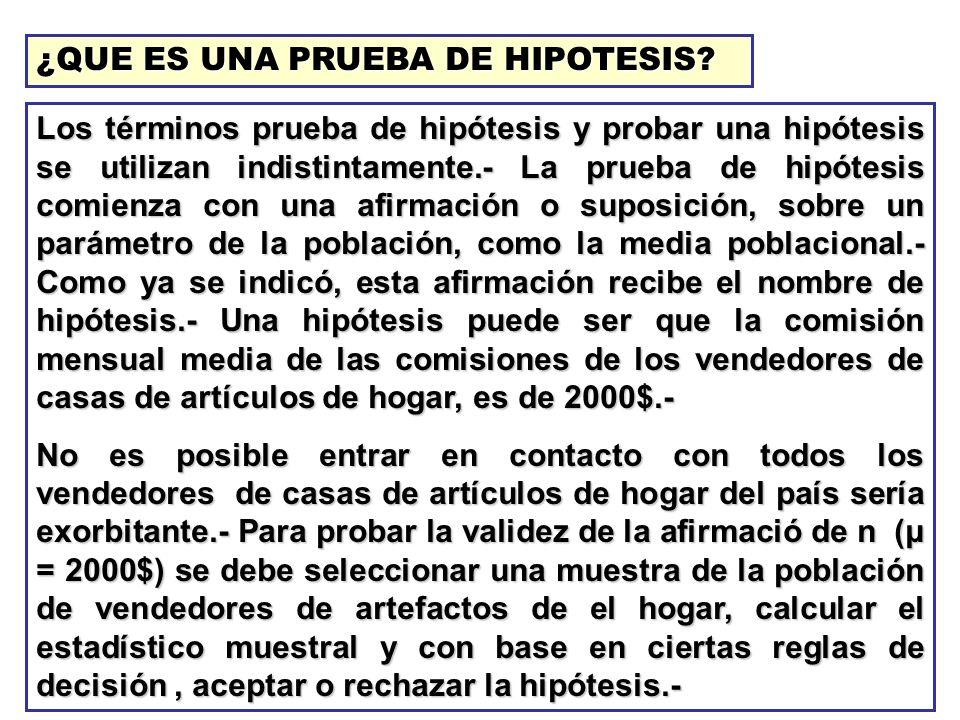 ¿QUE ES UNA PRUEBA DE HIPOTESIS? Los términos prueba de hipótesis y probar una hipótesis se utilizan indistintamente.- La prueba de hipótesis comienza
