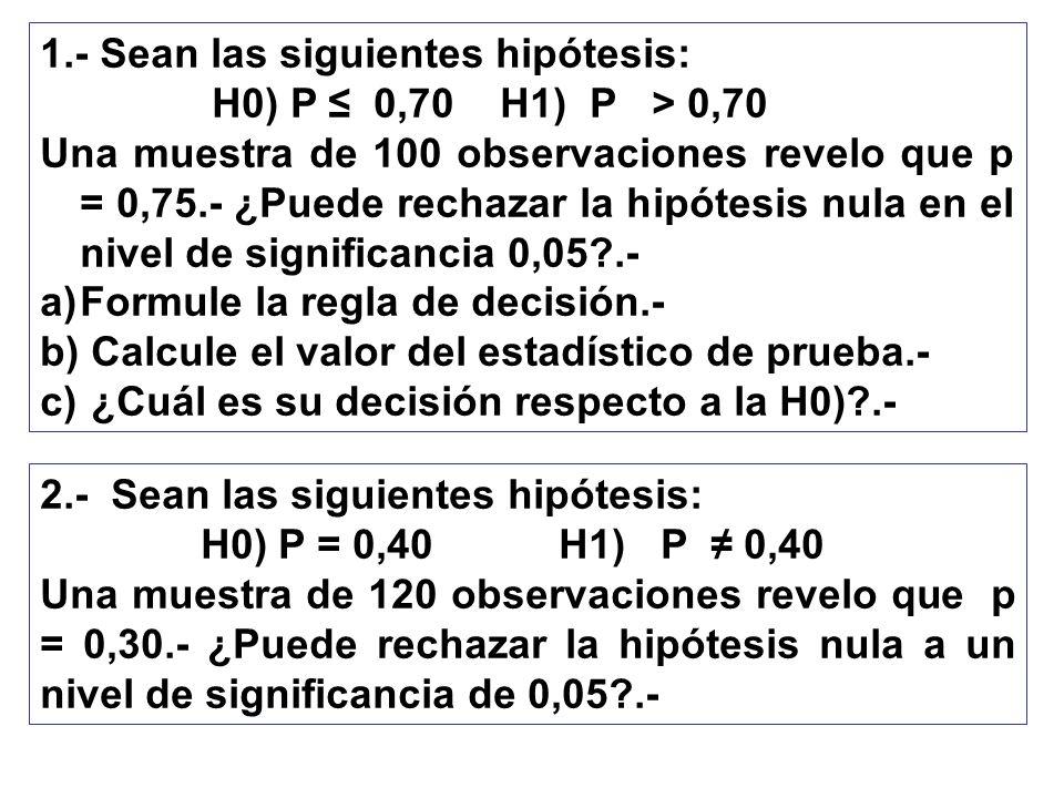1.- Sean las siguientes hipótesis: H0) P 0,70 H1) P > 0,70 Una muestra de 100 observaciones revelo que p = 0,75.- ¿Puede rechazar la hipótesis nula en