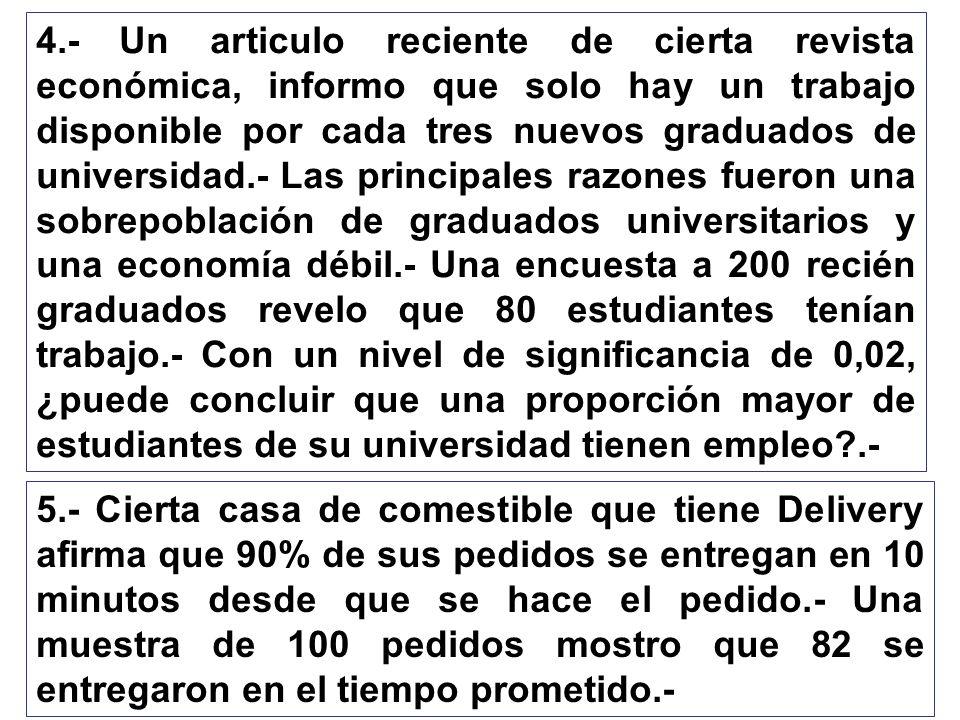 4.- Un articulo reciente de cierta revista económica, informo que solo hay un trabajo disponible por cada tres nuevos graduados de universidad.- Las p