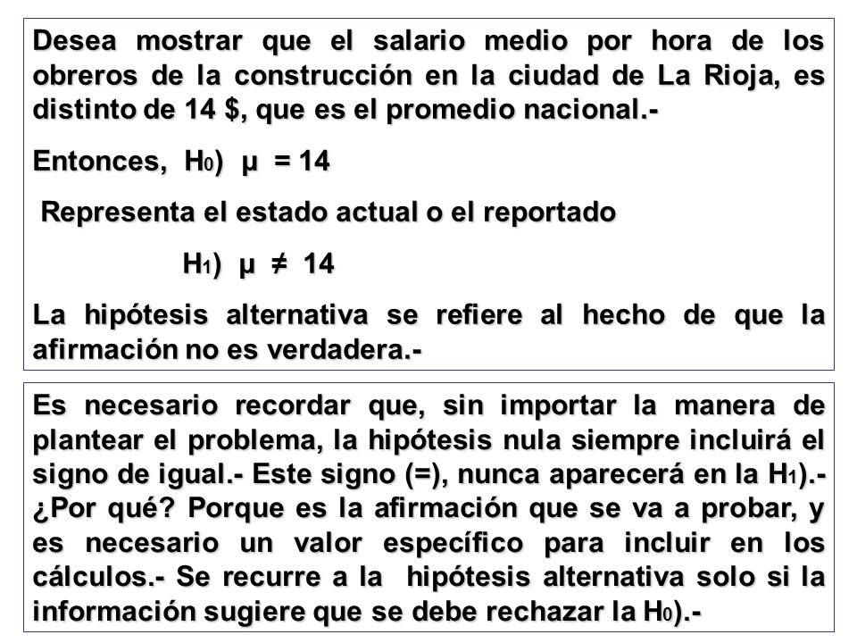 Desea mostrar que el salario medio por hora de los obreros de la construcción en la ciudad de La Rioja, es distinto de 14 $, que es el promedio nacion